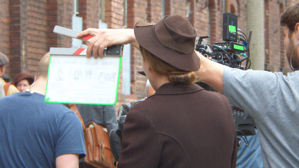 Dreharbeiten im Mai 2015 in Görlitz. Emma Thompson vor der Kamera.
