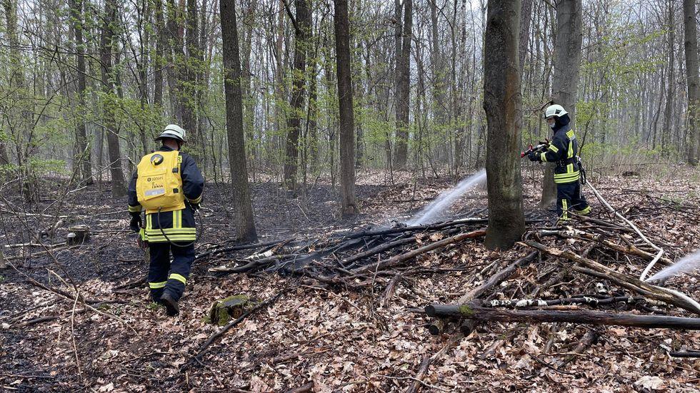 Eine Stunde lang haben Feuerwehrleute gegen das Bodenfeuer gekämpft.